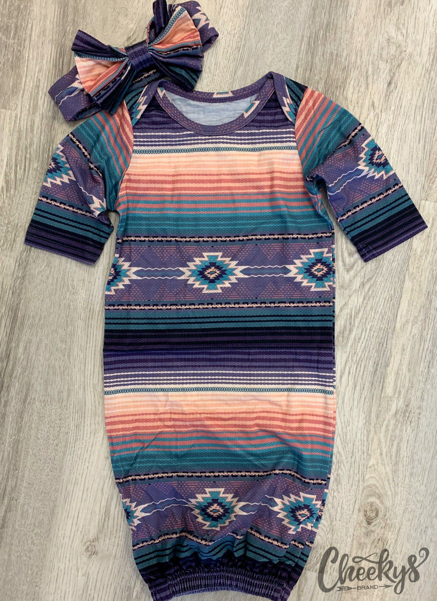 Purple Serape Aztec Baby Gown & Headband