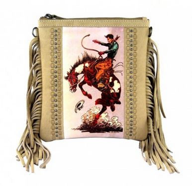 Bucking Bronc Messenger Bag - Ropes and Rhinestones