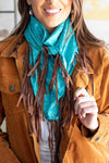 Turquoise Tooled Wild Rag with Fringe