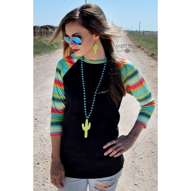 Serape Saguaro Baseball Tee - Ropes and Rhinestones