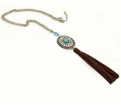Concho Tassle Necklace - Ropes and Rhinestones