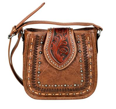 Tooled & Studded Cross Body Purse