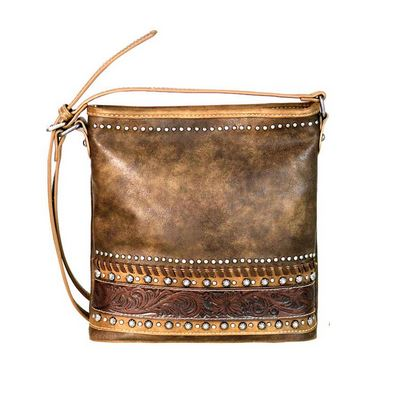 Tooled Leather & Studded Concealed Carry Tote