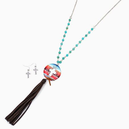 Serape Cross Necklace