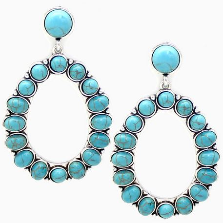 Turquoise Spot Hoop Earrings