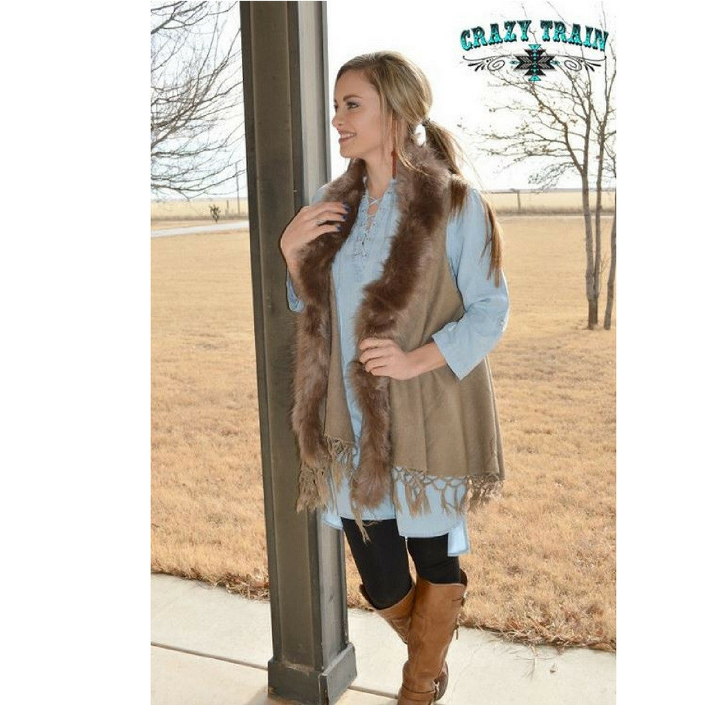 Coyote Creek Fur Vest - Ropes and Rhinestones