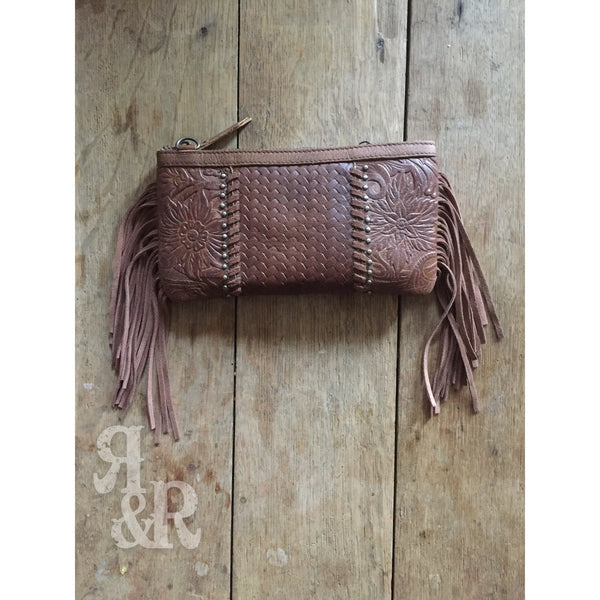 Tooled Leather & Fringe Clutch