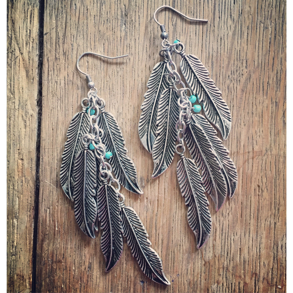 Feather Earrings - Ropes and Rhinestones