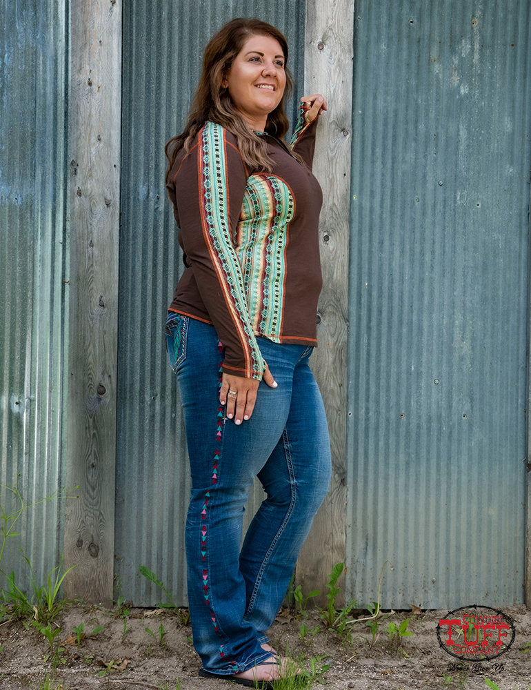 Cowgirl Tuff Brown & Coral Aztec Pullover