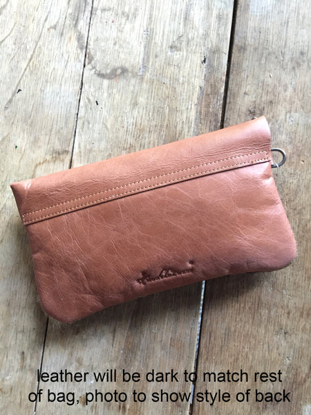 Cowhide and Leather Clutch with Fringe