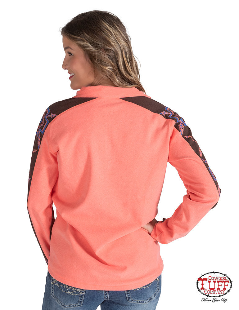 Cowgirl Tuff Crossed Arrow Coral Pullover