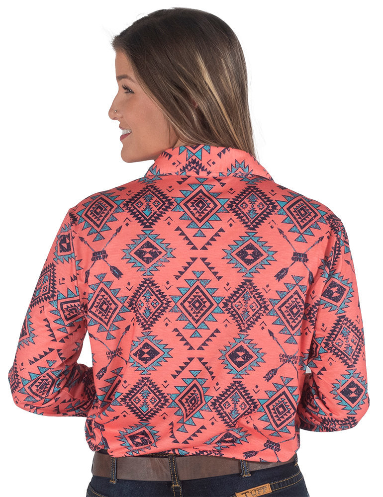 Coral Aztec Print Pullover Button Up