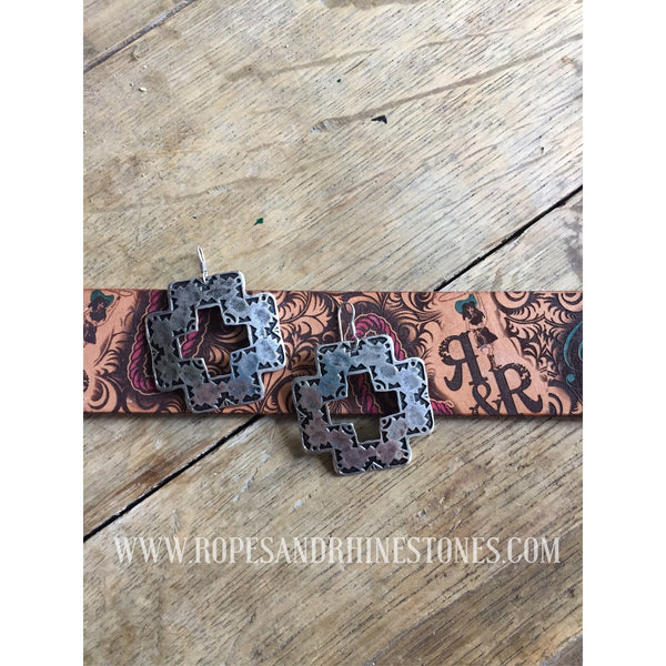 Square Cross Earrings - Ropes and Rhinestones