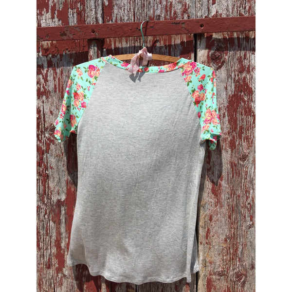 Floral Sleeve Tee - Ropes and Rhinestones