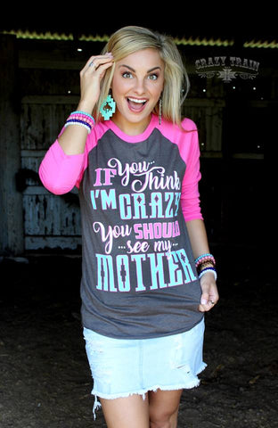 Crazy Mother Baseball Tee - Ropes and Rhinestones