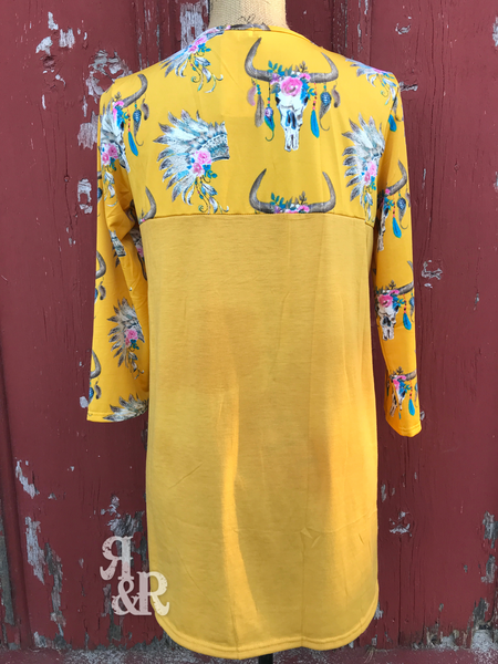 Yellow Cow Skull & Indian Shirt