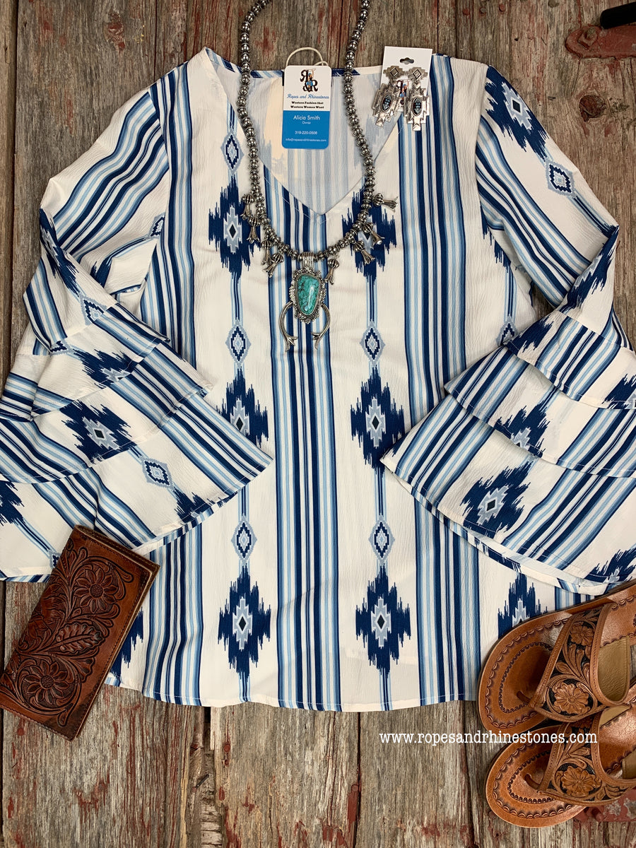 Aztec Blue Double Ruffle Sleeve Shirt