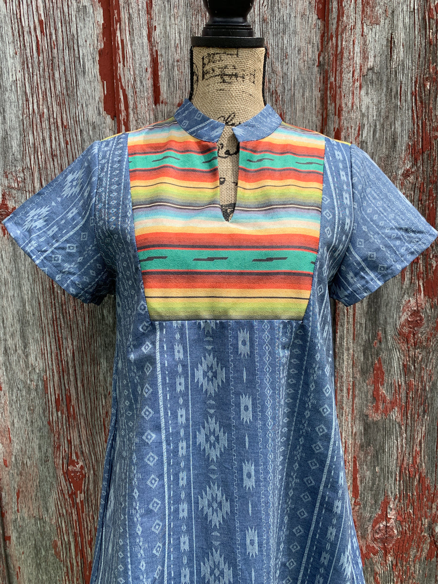Aztec Denim & Serape Dress
