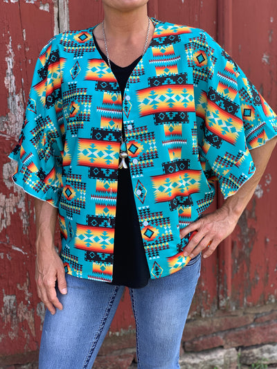 Turquoise Aztec Button Down V Neck Shirt