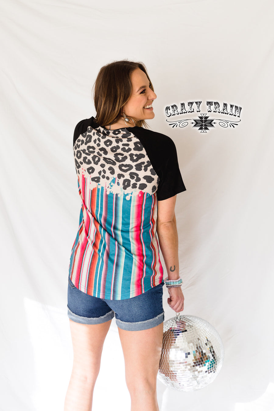 Party Crowd Serape Leopard Top