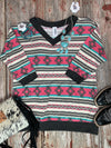 Aztec V Neck Tunic Top