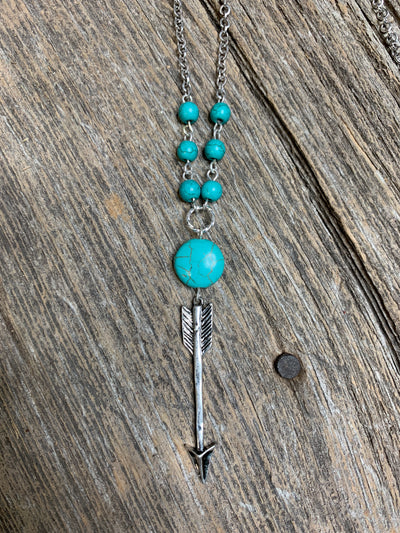 Silver Arrow & Turquoise Necklace