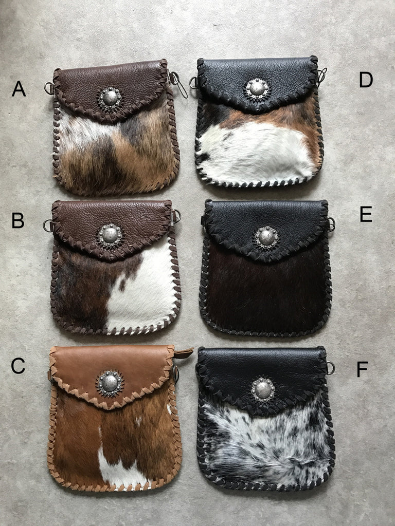 Cowhide Concho Crossbody Purse - Ropes and Rhinestones