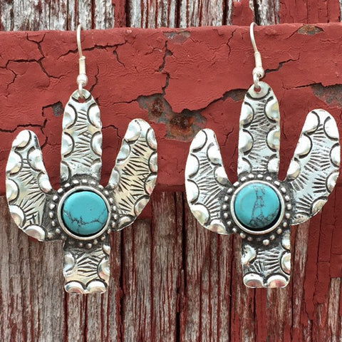 Cactus Earrings with Turquoise - Ropes and Rhinestones