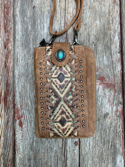 Aztec Stitched & Studded Cell Phone Cross Body Wallet