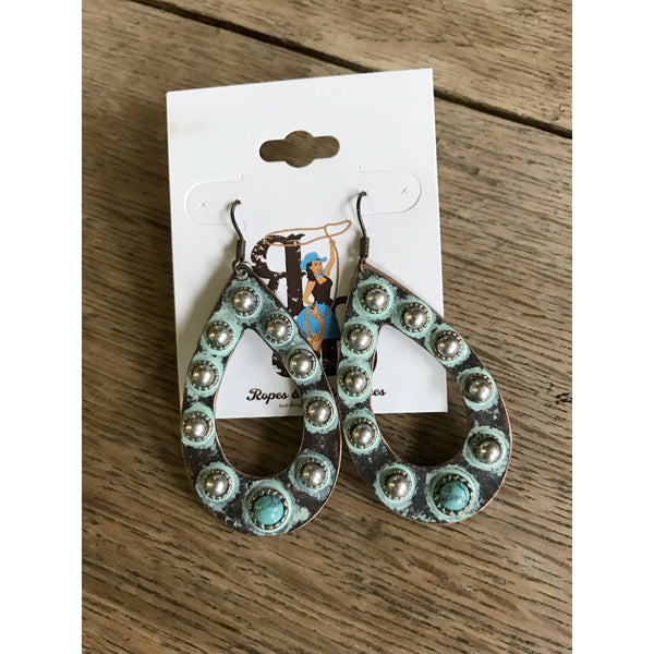Silver Studded Turquoise Earrings
