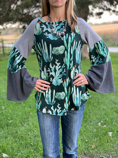 Cactus Flare Sleeve Top