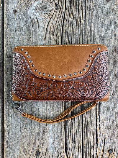Tooled Leather Studded Wristlet/Wallet