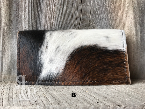 Cowhide & Gator Print checkbook cover - Ropes and Rhinestones