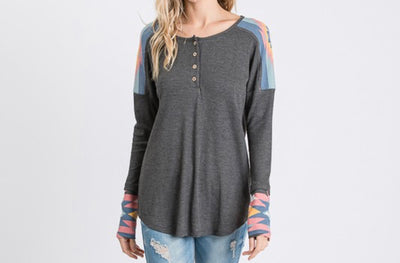 Aztec Button Top