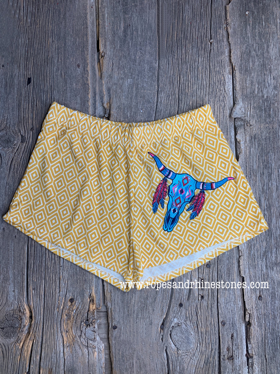 Cow Skull Yellow Diamond Shorts