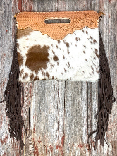Tooled Top Crossbody Cowhide Fringe Purse