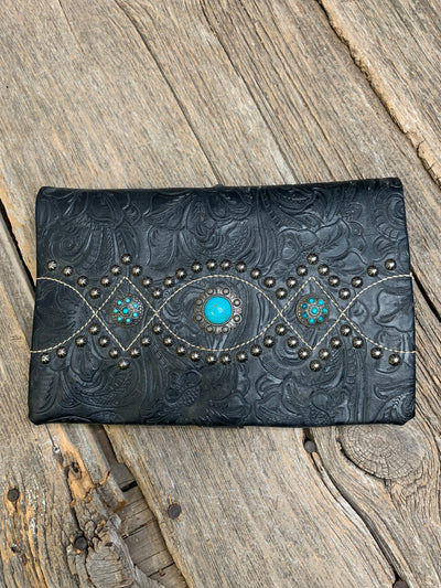 Turquoise Concho Tooled Crossbody Purse