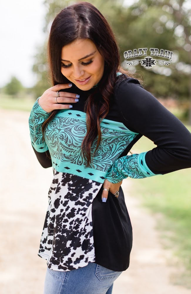 Turquoise Tooled Cow Print Top