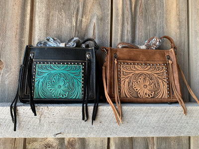 Tooled Leather Double Pocket Cross Body Purse