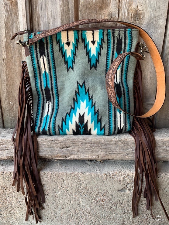 Saddle Blanket Grey & Fringe Crossbody Purse