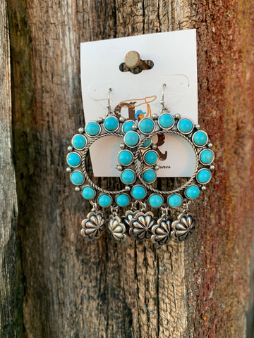 Turquoise Circle Charm Earrings