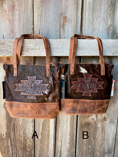 Aztec Patch Cowhide Mini Tote
