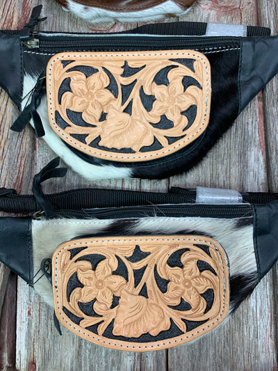 Cowhide & Tooled Leather Fanny Pack