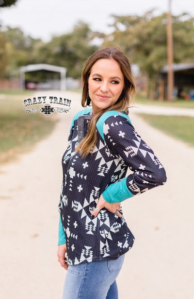 Mad Dog Aztec Turquoise Top