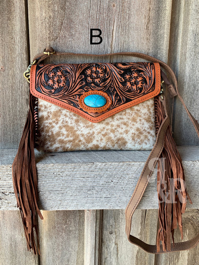 Cowhide & Turquoise Tooled Envelope Purse
