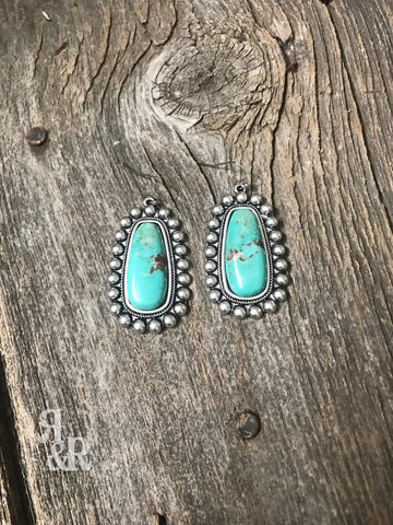 Turquoise Silver Spot Earrings
