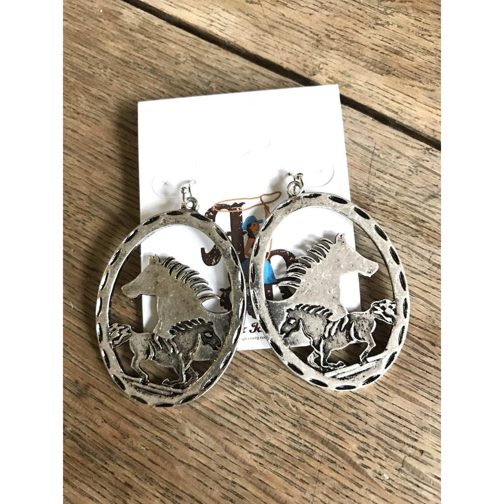 Double Horse Earrings - Ropes and Rhinestones