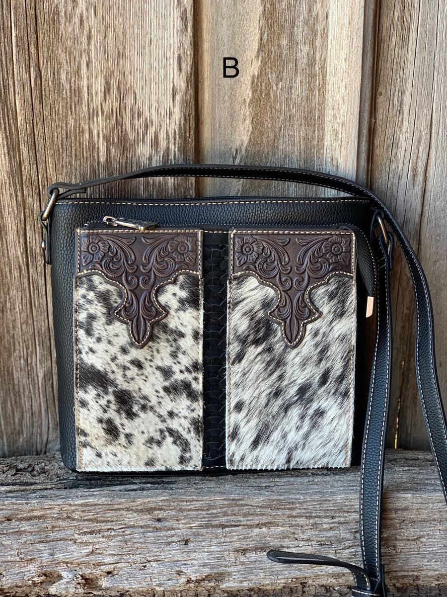 Cowhide Front Pocket Crossbody Purse