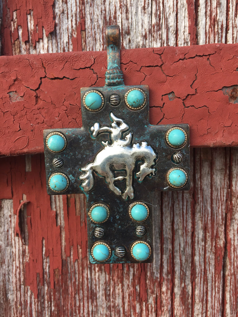 Bucking Bronc Cross Pendant - Ropes and Rhinestones