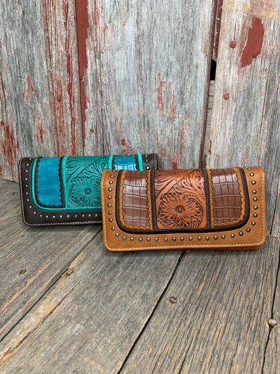 Tooled Leather & Croc Wallet
